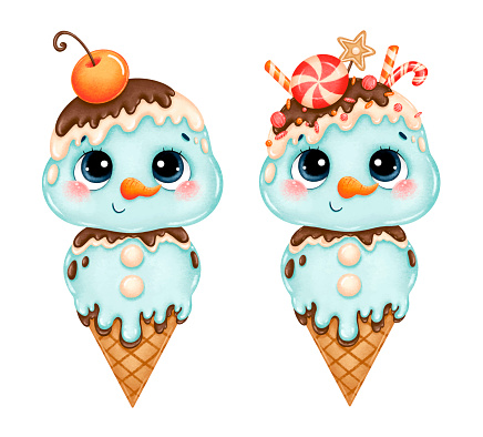 Illustration of cute cartoon Christmas ice cream snowman with candy canes isolated on white background.