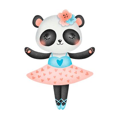 Illustration of cute cartoon panda bear ballerina isolated on white background. Ballet animals illustration.