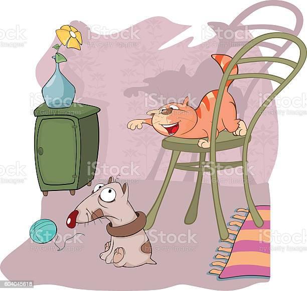 Illustration of cute cat and little dog cartoon character vector id604045618?b=1&k=6&m=604045618&s=612x612&h=41m0sqhe6mu8klnb hmj73ulx1z7oa69kecs7kem6e4=