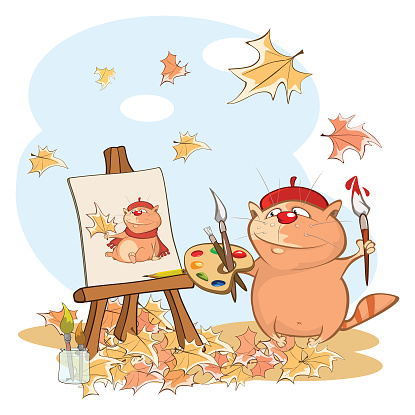 Illustration of  Cute Cat Cartoon Character