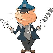 Illustration of Cute Cat Police Officer Cartoon Character