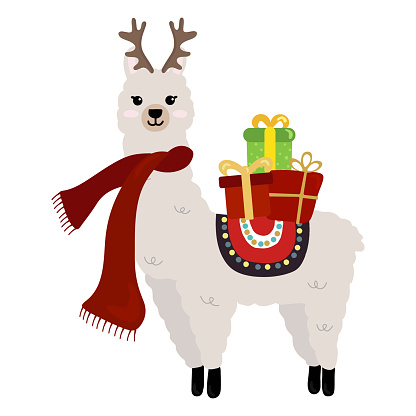 Illustration of cute Christmas alpaca  isolated on white background. Illustration for  posters, greeting cards  and seasonal design.