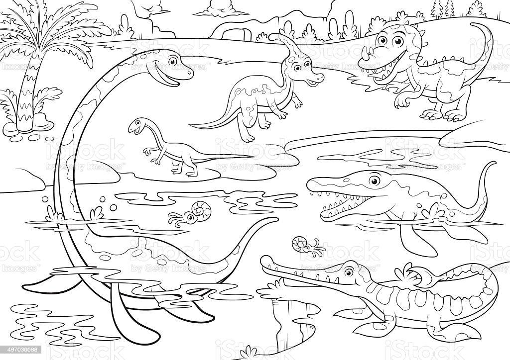 Ilustración De Ilustración De Dibujos Animados De Dinosaurios Linda