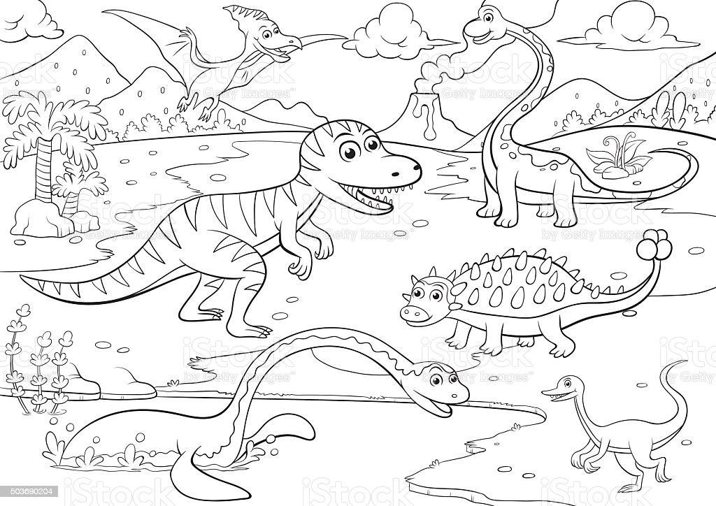 Illustration Der Süße Dinosaurier Cartoon Zum Ausmalen Stock Vektor