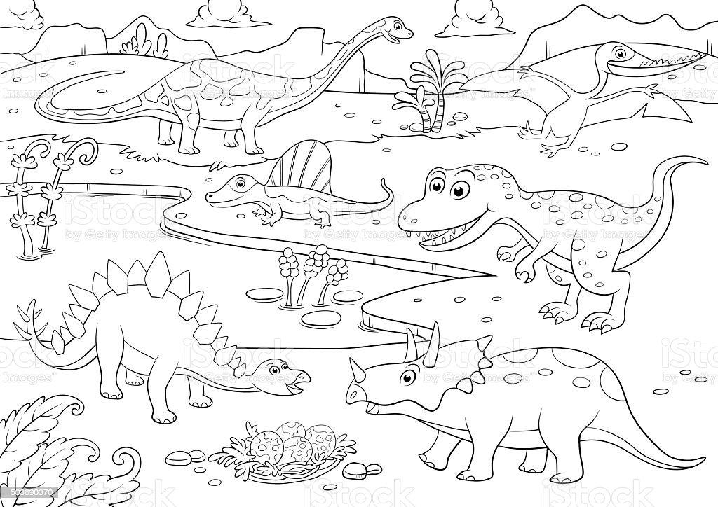 Ilustración de Ilustración De Dibujos Animados De Dinosaurios Para ...