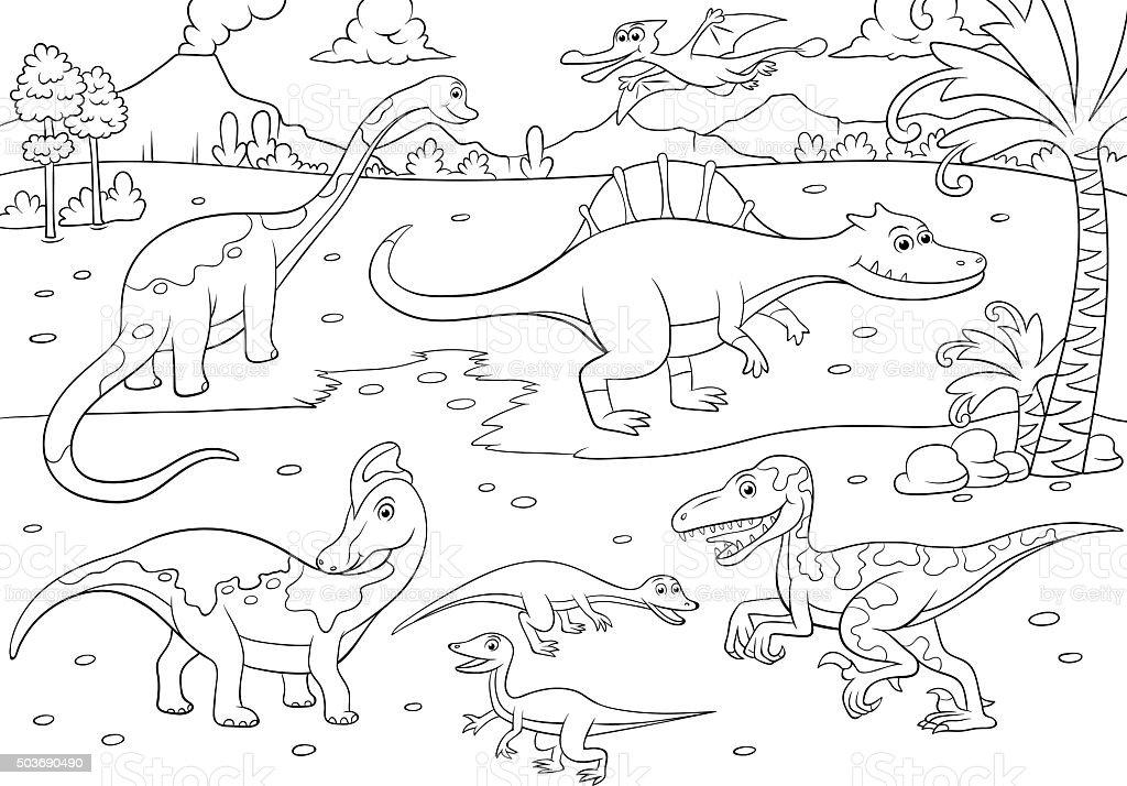 Illustration Der Susse Dinosaurier Cartoon Zum Ausmalen Stock Vektor Art Und Mehr Bilder Von Ausgestorbene Tierart Istock