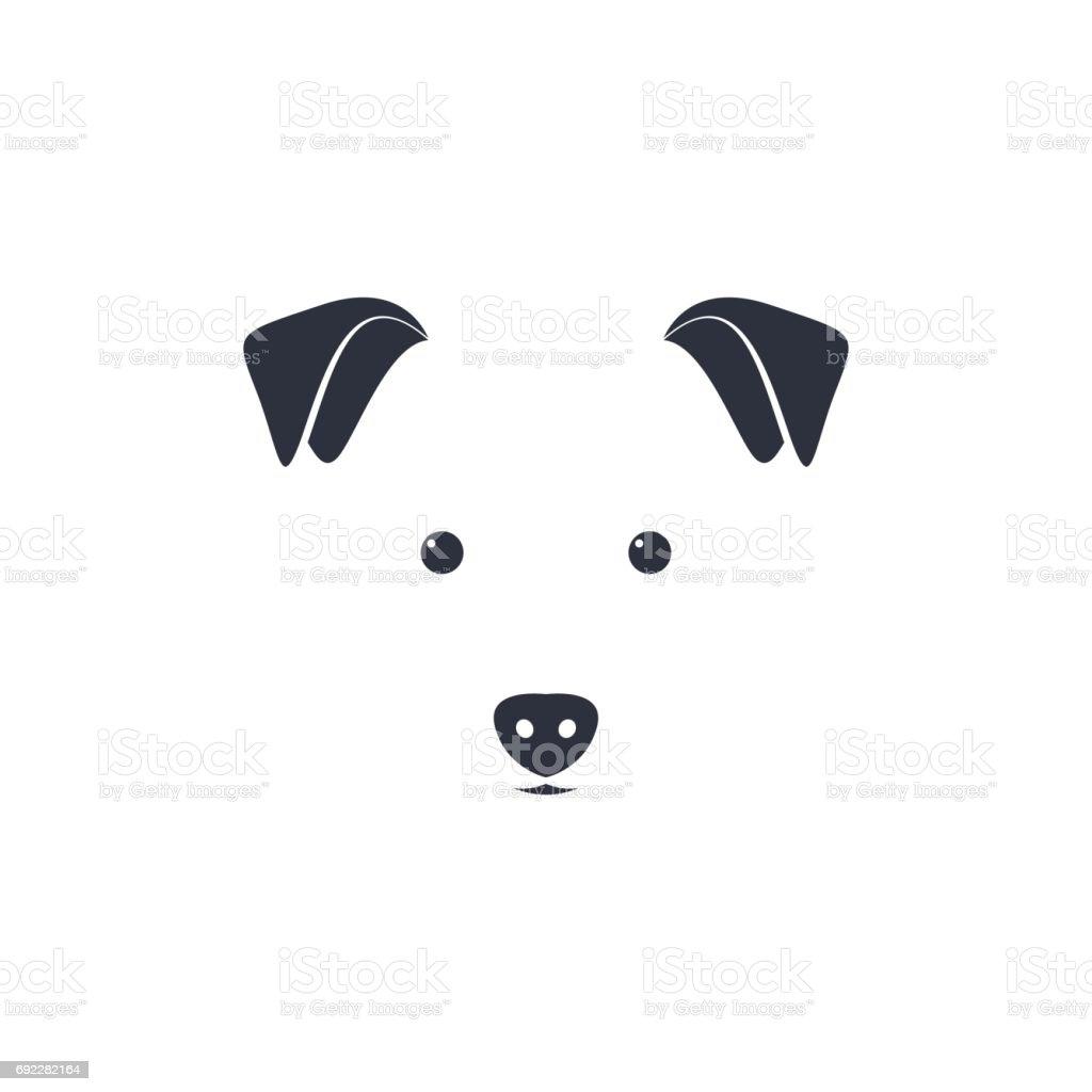 Illustration of cute dog head on white background. Minimal iconic for pet icon. vector art illustration