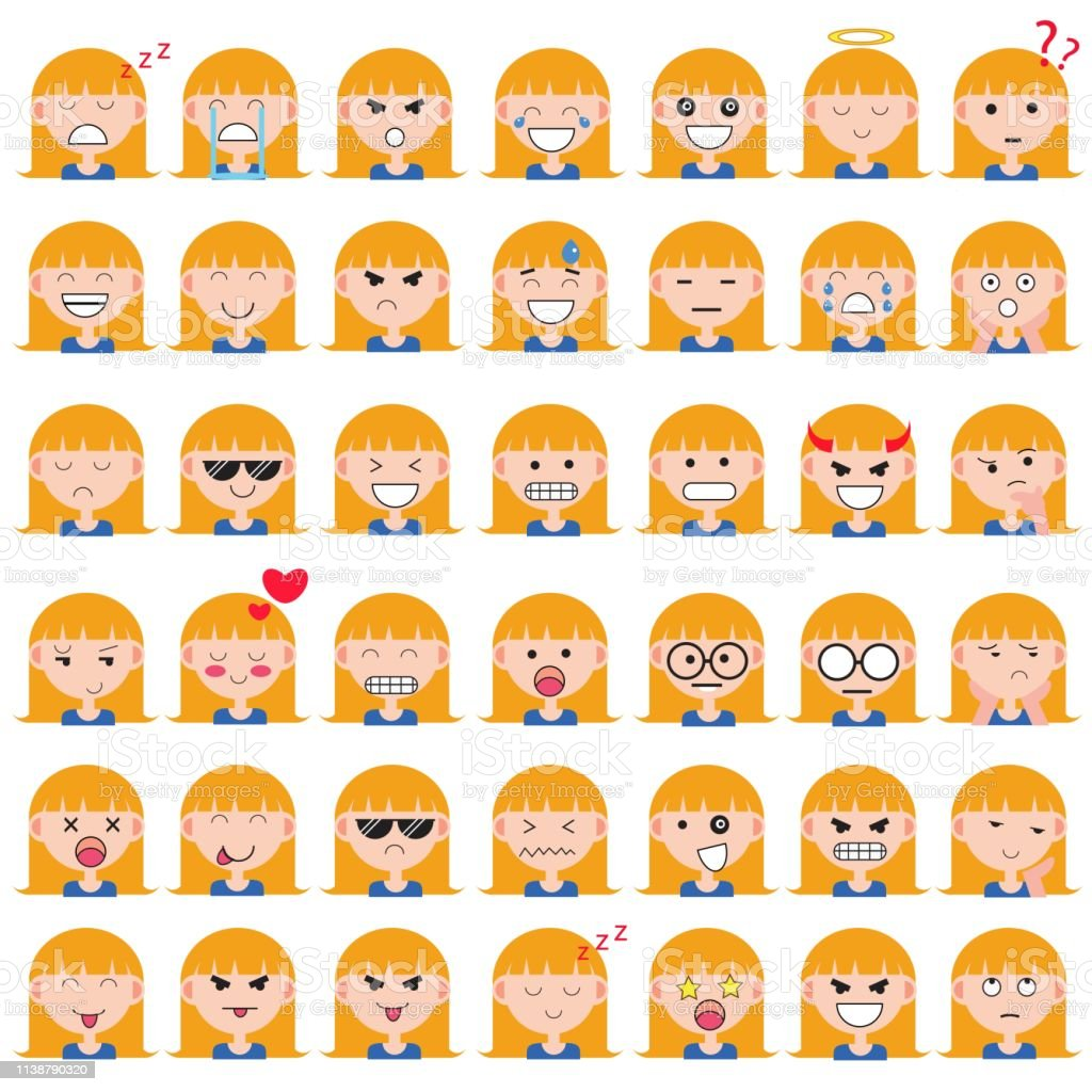 Illustration of cute girl faces showing different emotions. Joy,...