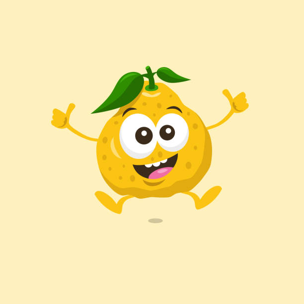 Illustration Of Cute Happy Ugli Fruit Mascot Recommends Something With Big Smile Isolated On Light Background