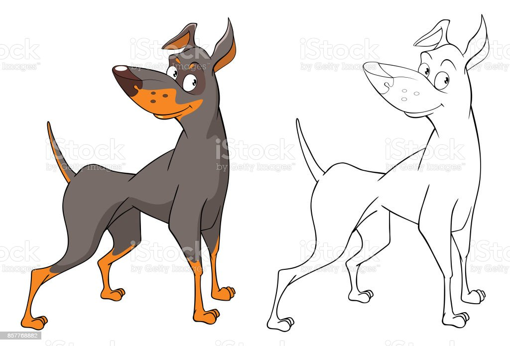 Ilustración de personaje de dibujos animados de perro de caza lindo - ilustración de arte vectorial