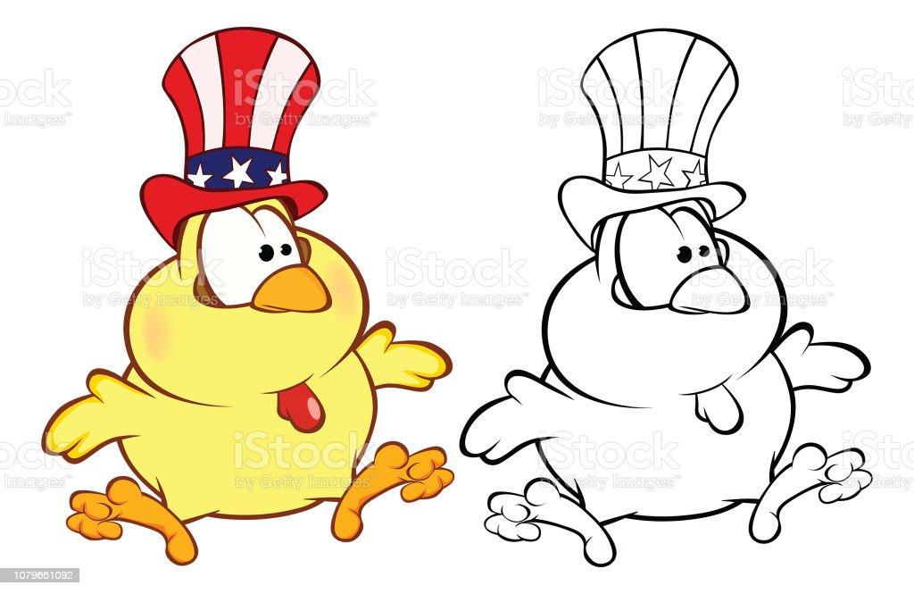 Sevimli Kucuk Tavuk Karikatur Karakter Boyama Kitabi Cizimi Stok