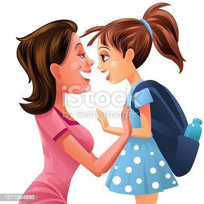 istock Illustration of Cute Little Girl and Mother 1271064893