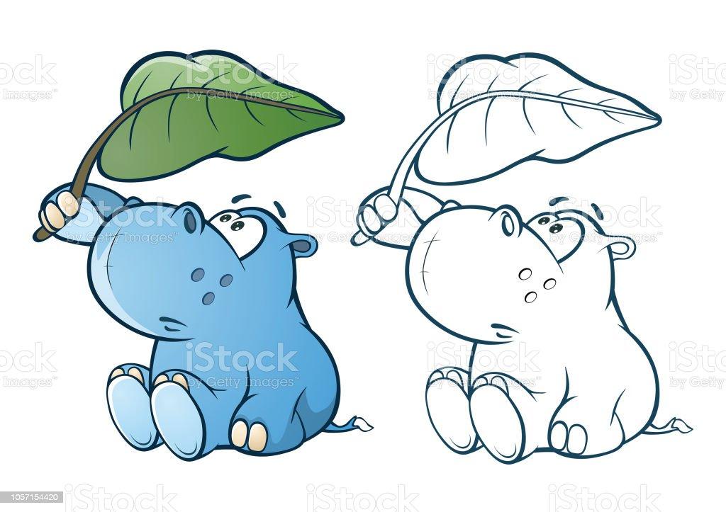 Illustration De Mignon Petit Personnage De Dessin Animé Hippo