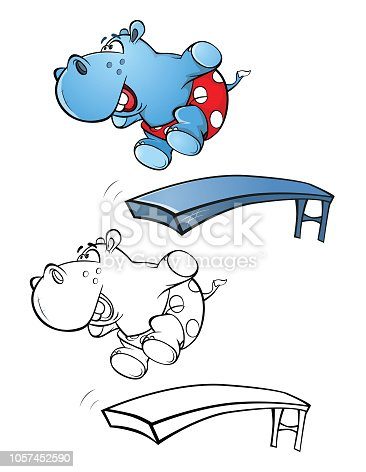 Illustration Of Cute Little Hippo Cartoon Character Coloring Book