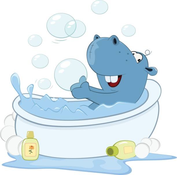 Hippo Art Images: Best Showering Hippo Illustrations, Royalty-Free Vector