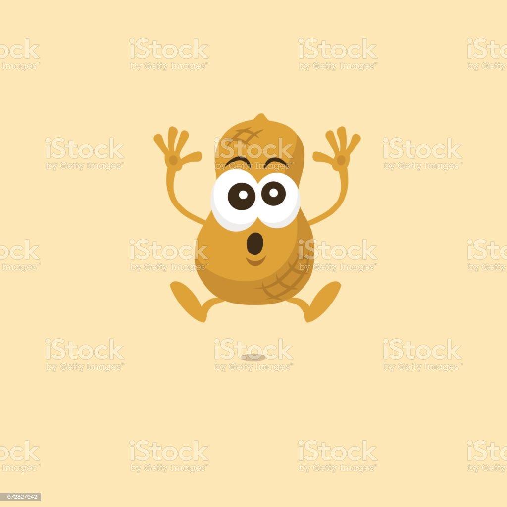 Illustration of cute peanut scared mascot - ilustração de arte em vetor