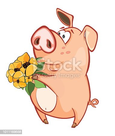 illustration of cute pig cartoon character stock vector art more
