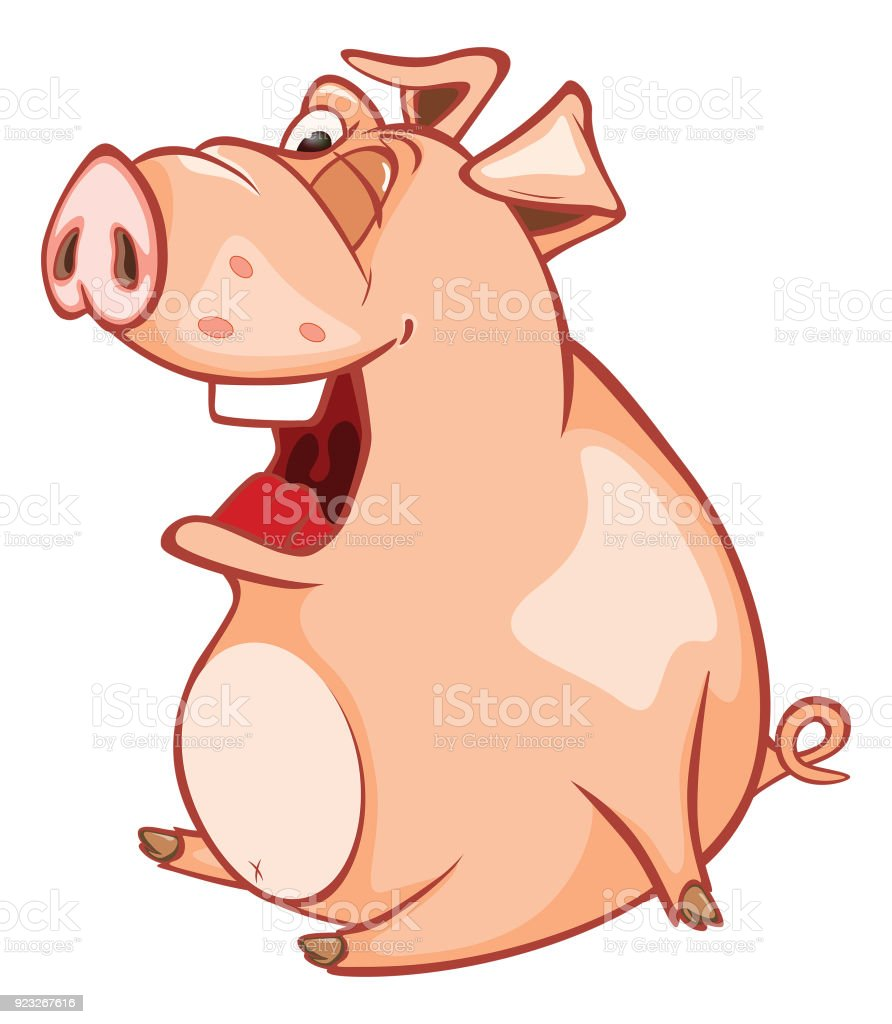 Illustration of  Cute Pig Cartoon Character vector art illustration