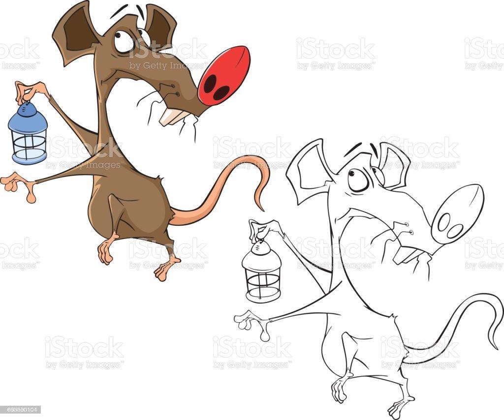 かわいいネズミ漫画キャラクター塗り絵のイラスト おもちゃのベクター