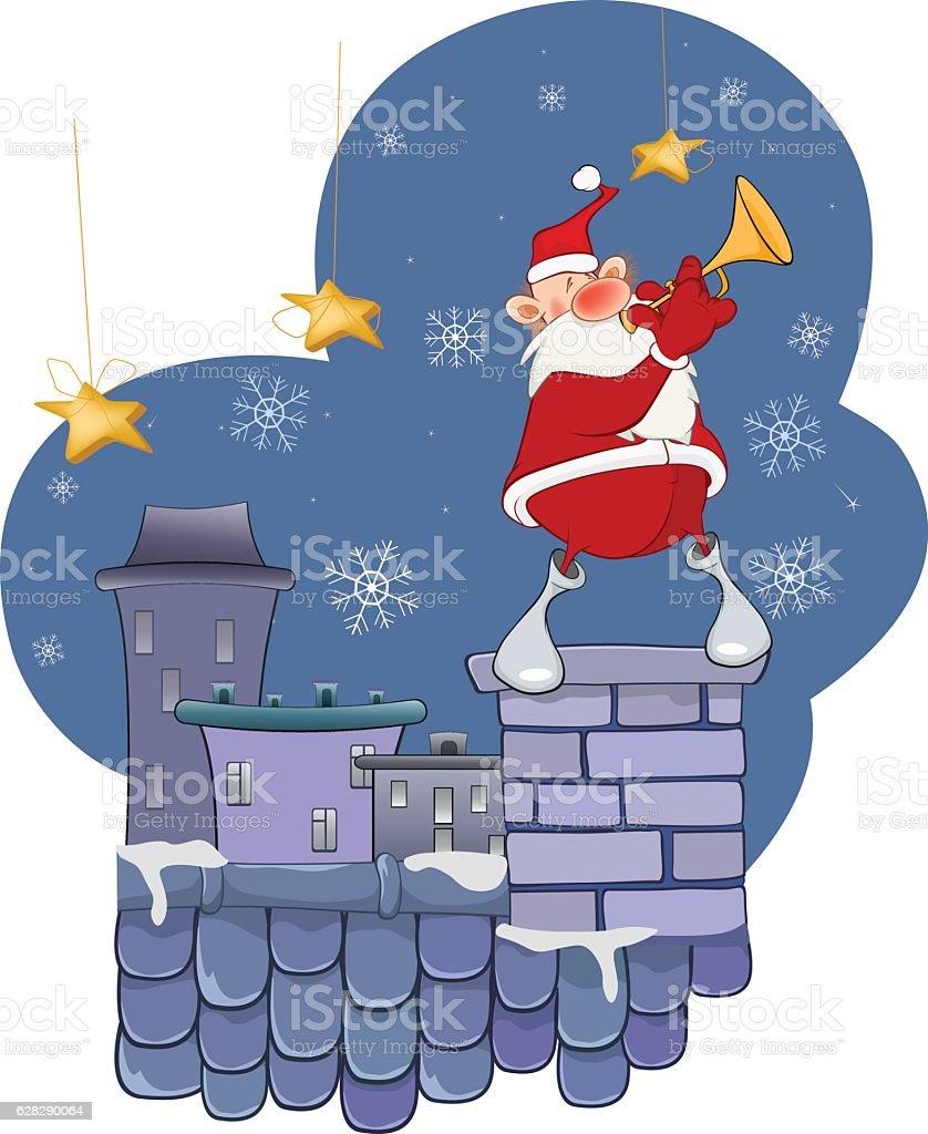 Illustration of Cute Santa Claus Jazz Trumpet on Roof vector art illustration