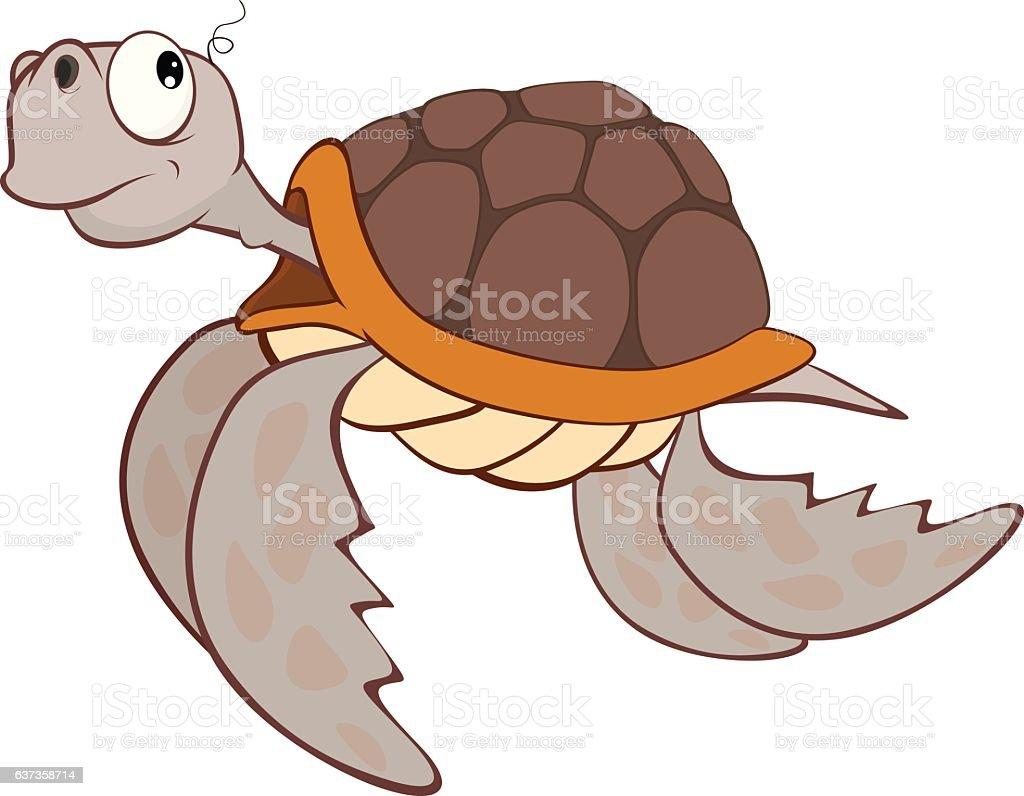 Illustration of Cute Sea Turtle Cartoon Character vector art illustration