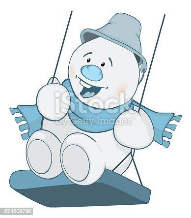 istock Ilustración de lindo muñeco de nieve de la historieta carácter ...