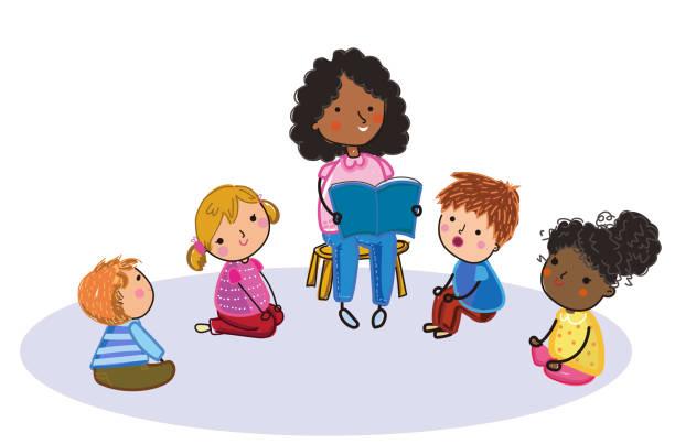 ilustrações, clipart, desenhos animados e ícones de ilustração da leitura bonito do professor para miúdos - professor de pré escola