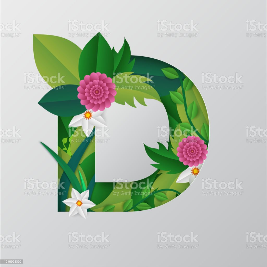 Illustration Of D Alphabet Made By Flowers Leaves With Paper Cut