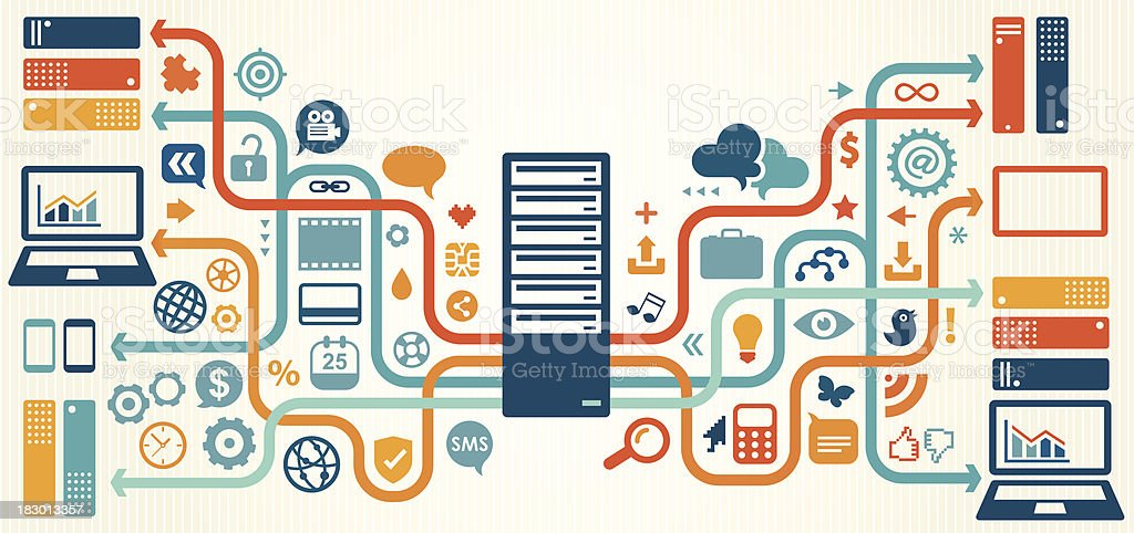Illustration of data, server and storage elements vector art illustration