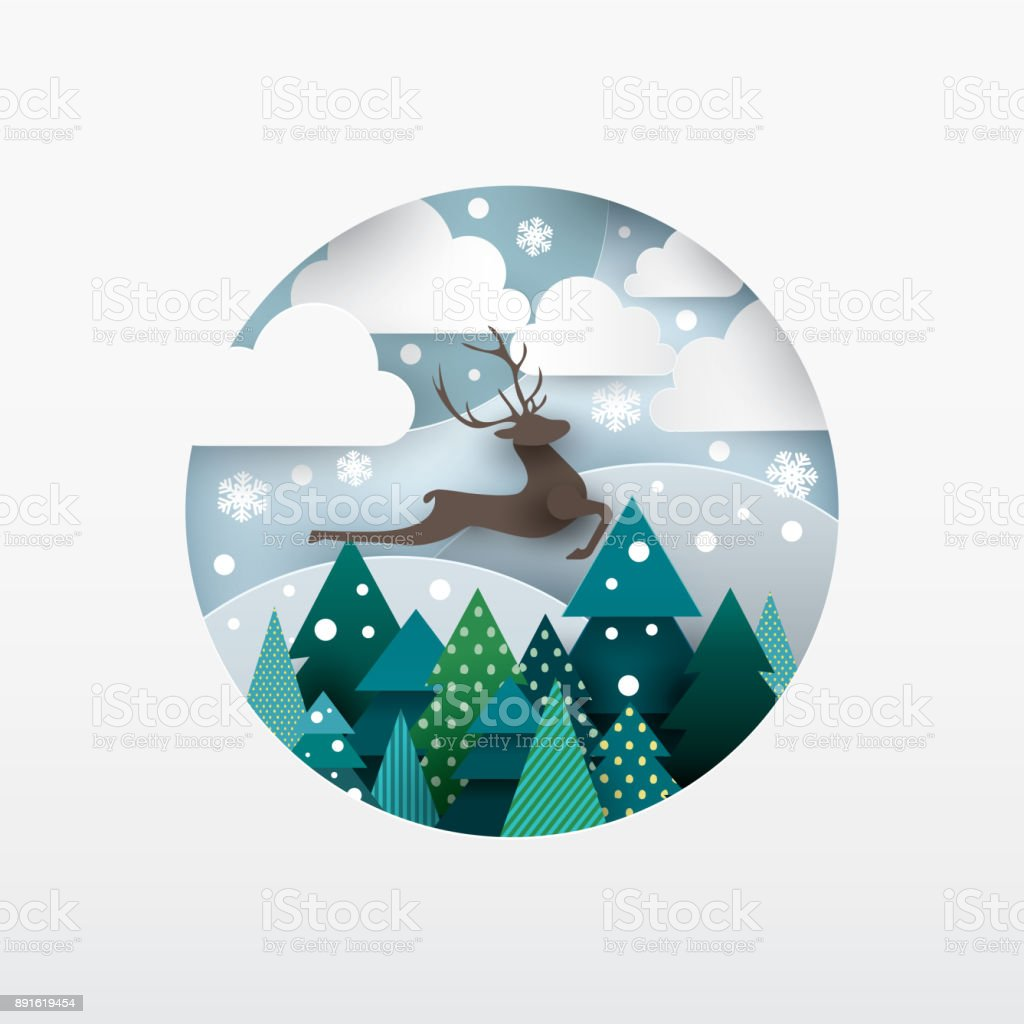 Illustration of deer. Winter landscape. Illustration of deer. Winter landscape. Paper cut style. Animal stock vector