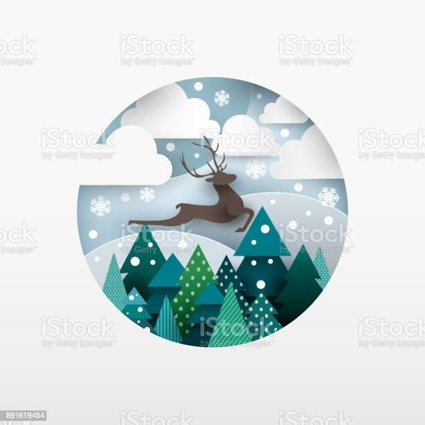 Illustration Of Deer Winter Landscape Stock Illustration - Download Image Now