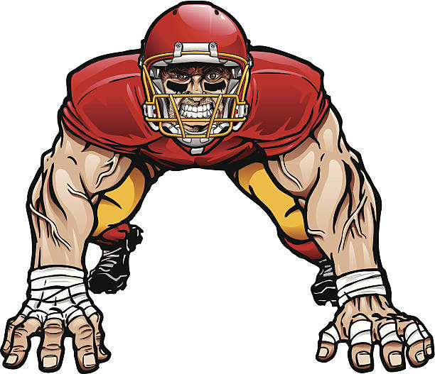 Illustration of defensive lineman in football gear Crazy defensive lineman in a 4 point stance. Major Elements layered separately for easy editing. 8 spot colors plus black. Simple gradients and shapes for easy printing, separating and color changes. File formats: EPS and JPG football lineman stock illustrations