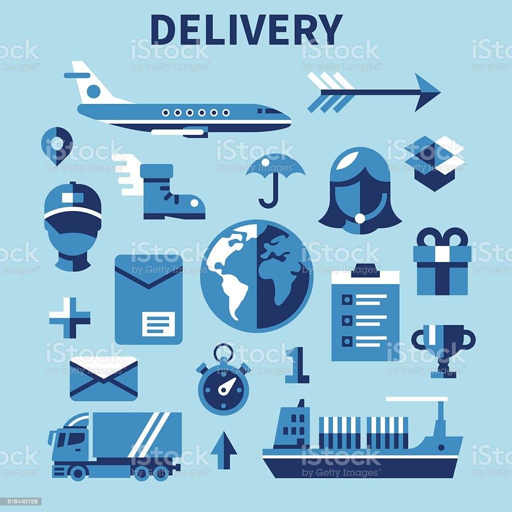 Illustration of delivery service and transport vector art illustration
