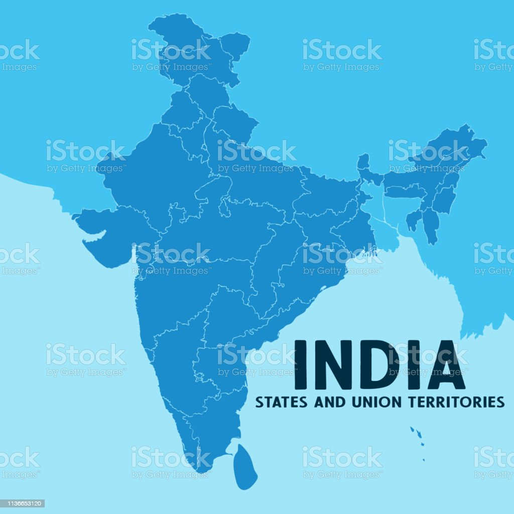 Boundary Map Of Asia.Illustration Of Detailed Map Of India Asia With All States And