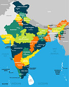 illustration of detailed map of India vector, Asia with all states and country boundary