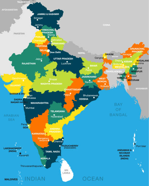 illustration of detailed map of India vector, Asia with all states and country boundary illustration of detailed map of India, Asia with all states and country boundary azerbaijan stock illustrations
