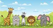 Illustration of different cute wild animals