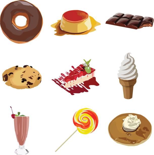 darstellung der verschiedenen desserts - vanillesauce stock-grafiken, -clipart, -cartoons und -symbole