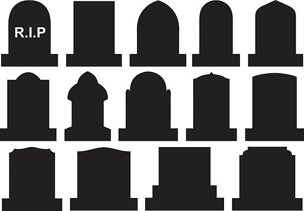 illustration of different halloween gravestones - tombstone stock illustrations, clip art, cartoons, & icons
