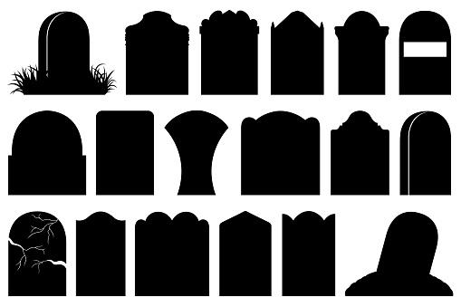 Illustration of different Halloween gravestones