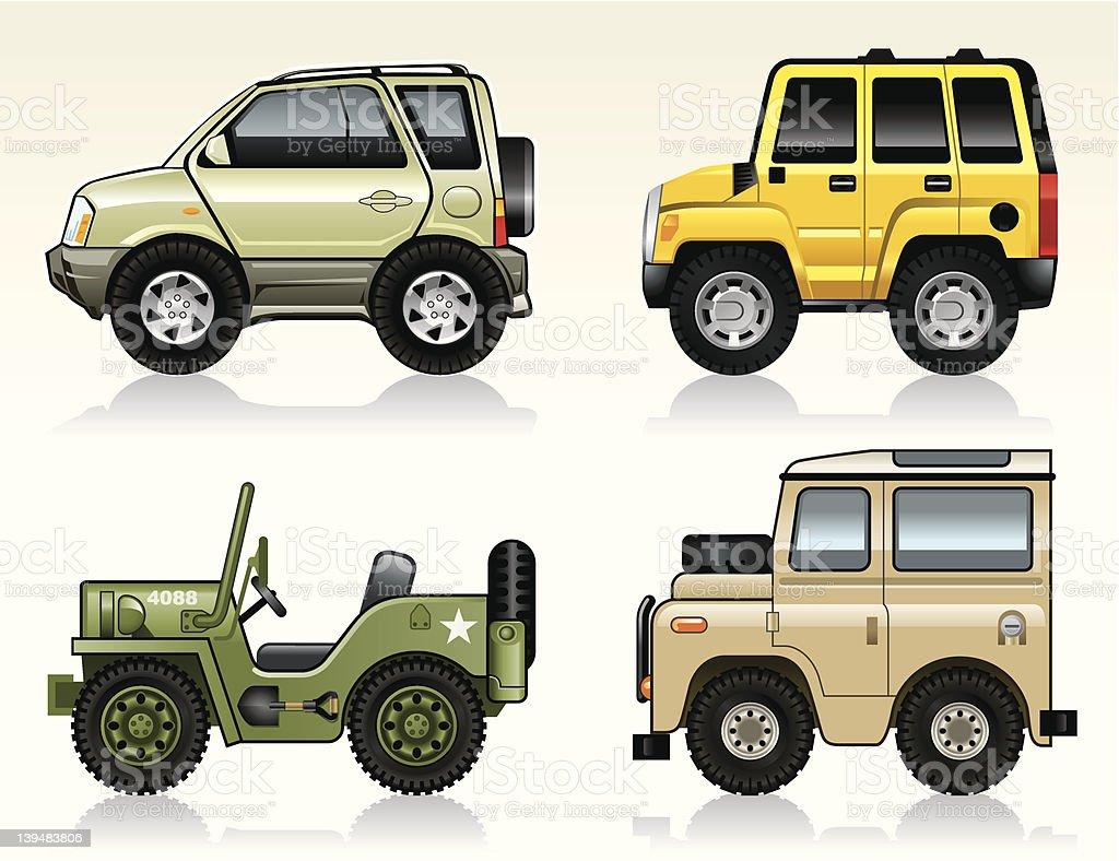Illustration of different jeep cars vector art illustration