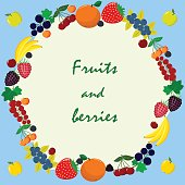 Delicious and sweet Fruits and berries, collected in a composition in a circle.