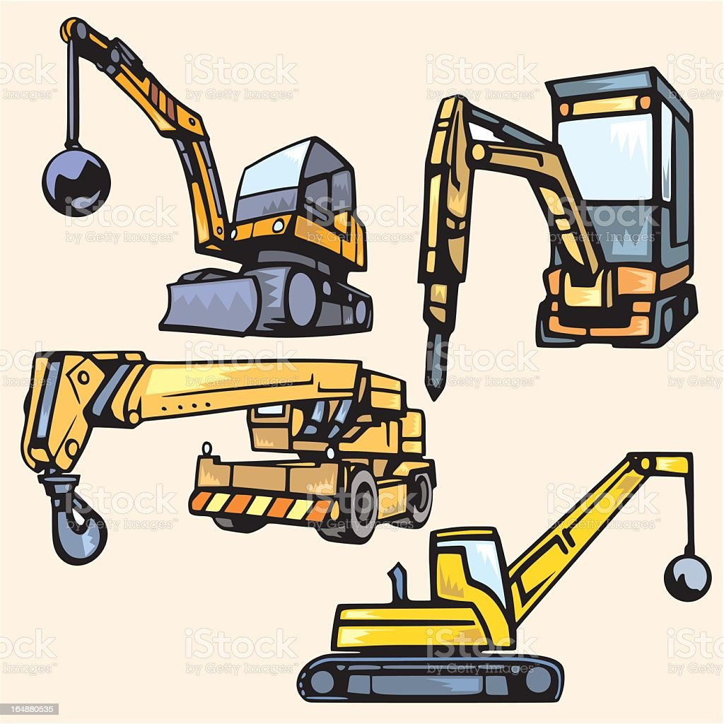 Illustration of different models of construction vehicles royalty-free stock vector art