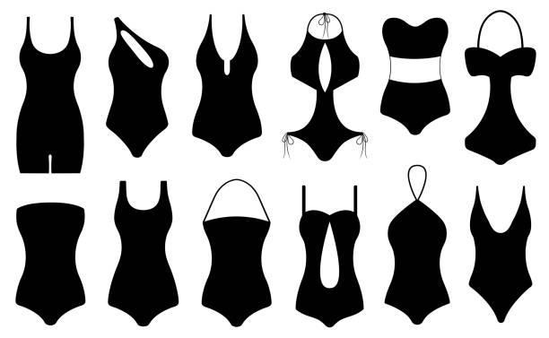 Darstellung der verschiedenen Badeanzüge – Vektorgrafik