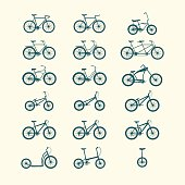 Illustration of different types of bicycles