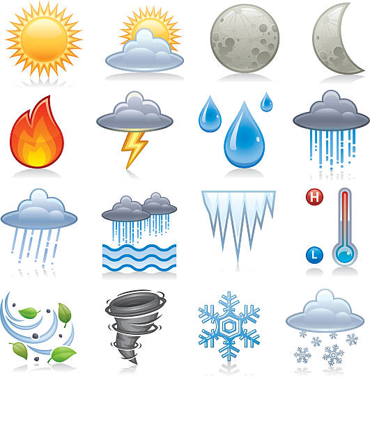 Illustration of different types of weather icons Premium weather icons. forked lightning stock illustrations