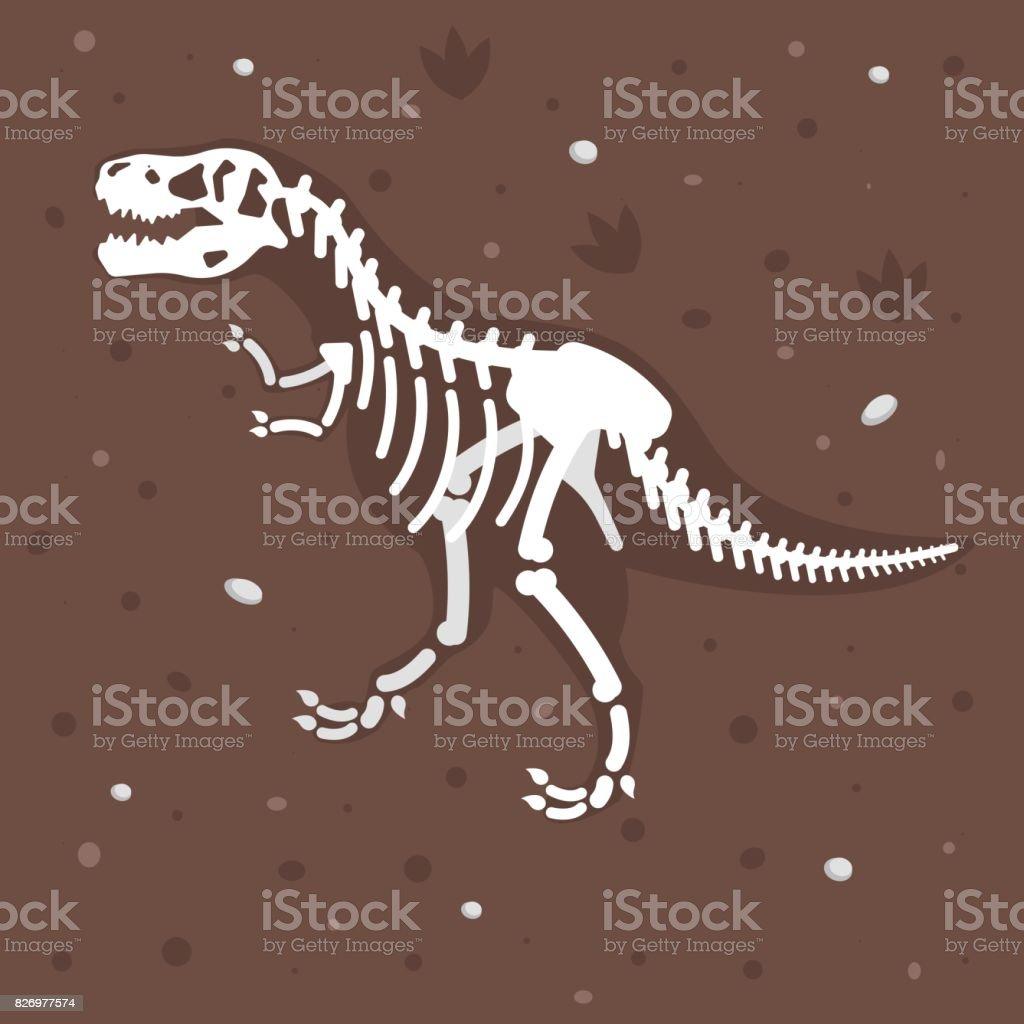 illustration of dinosaur skeleton in the ground. vector art illustration