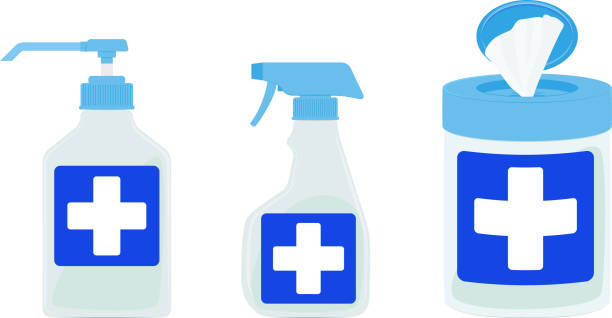 illustrazioni stock, clip art, cartoni animati e icone di tendenza di illustration of disinfectant bottles, disinfectant sprays and disinfectant wet tissue - salvietta umidificata
