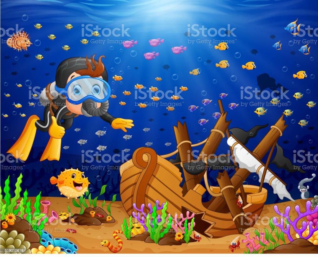 illustration of diver under the sea vector art illustration