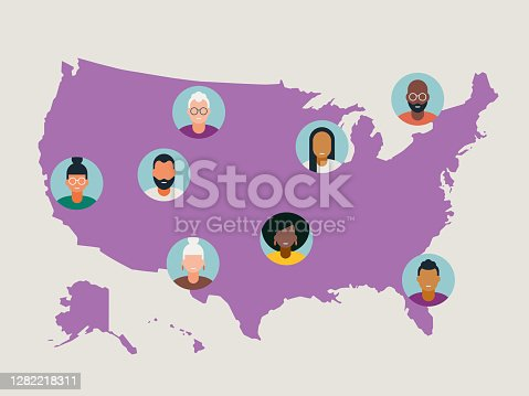 istock Illustration of diverse avatars placed on United States map 1282218311